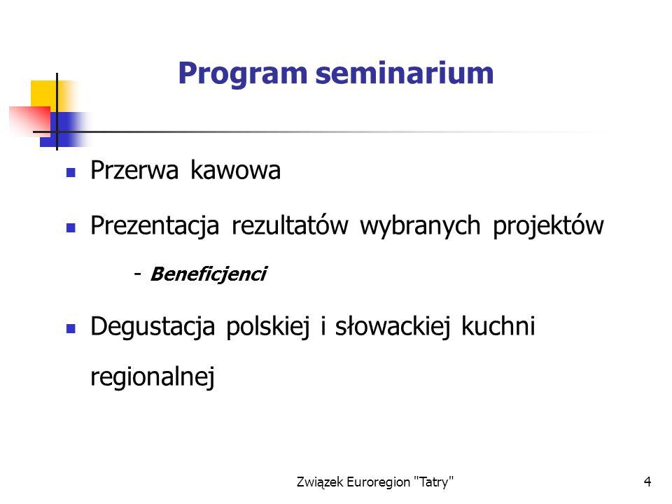 Związek Euroregion Tatry 25 Projekty zrealizowane w Euroregionie Tatry Dotychczas zrealizowano i rozliczono 54 projekty w ramach FMP Phare CBC edycji 1997, 2000 i 2001 w tym 4 miały charakter komplementarny a beneficjentem 4 wymienionych poniżej projektów, był Związek Euroregion Tatry: Zawody w kolarstwie Górskim - Euroliga Tatry 99 (edycja 1997) Promocja Euroregionu Tatry(edycja 1997) Łączą nas Tatry(edycja 1997) Polsko-słowacki System Informacyjny Euroregionu Tatry (edycja 2000)