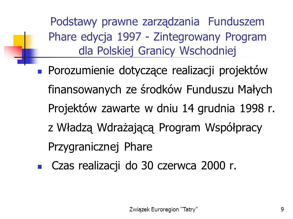 Związek Euroregion Tatry 30 Podział projektów wg wartości dofinansowania z Funduszu Phare Program Współpracy Przygranicznej Phare Dofinansowanie do 5 000 euro Dofinansowanie od 5 000 do 10 000 euro Dofinansowanie od 10 000 do 15 000 euro Dofinansowanie powyżej 15 000 euro Edycja 1997 24200 Edycja 2000 4740 Edycja 2001 3532 Razem 311472