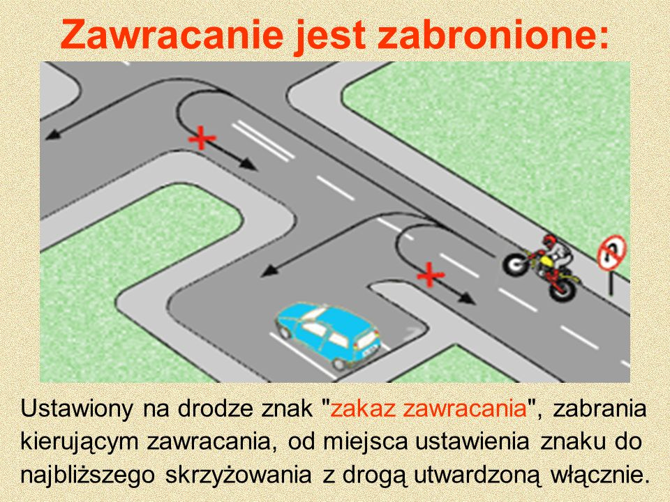 Zawracanie jest zabronione: Ustawiony na drodze znak zakaz skrętu w lewo zabrania kierującemu skręcenia w lewo lub zawrócenia tylko na najbliższym skrzyżowaniu.