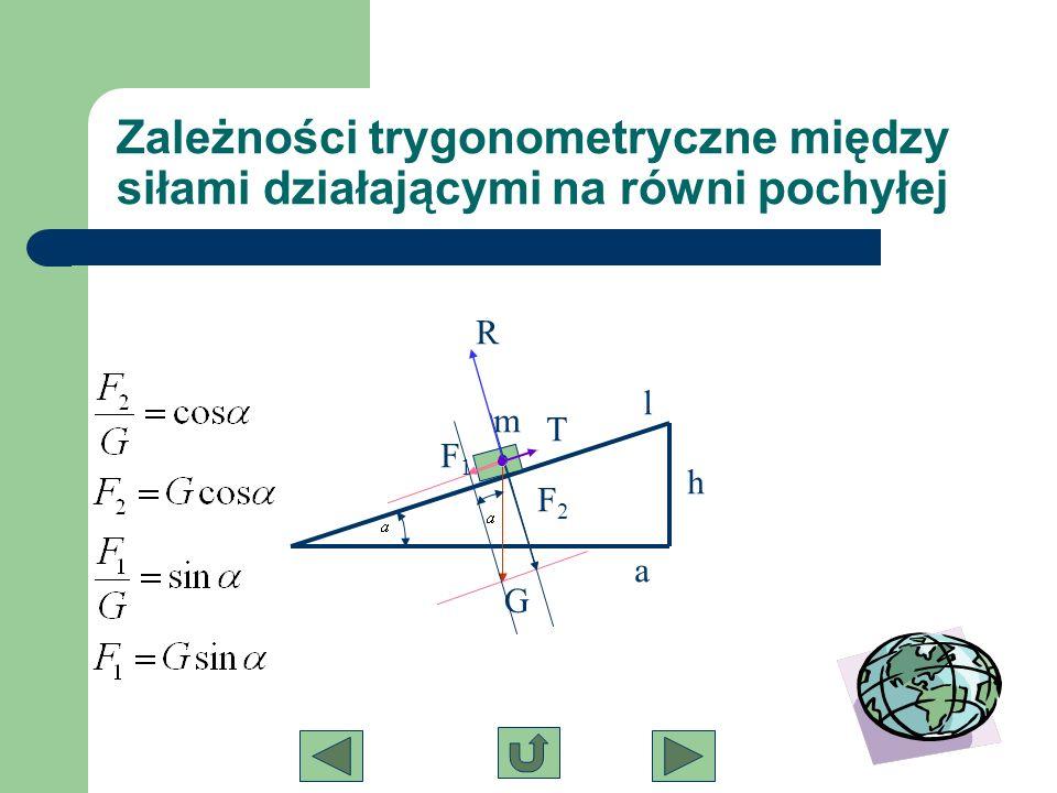 Zależności trygonometryczne między siłami działającymi na równi pochyłej m G F2F2 F1F1 T R h l a
