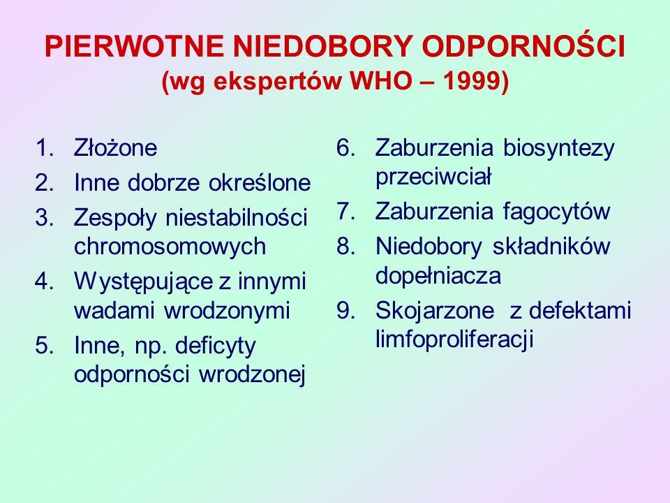 ZŁOŻONE NIEDOBORY ODPORNOŚCI JEDNOSTKAPRZYCZYNA Ciężki (T-B-SCID) dysgenezja siateczki niedobór RAG1 lub RAG2 Defekty komórek macierzystych i genów Ig i dla TCR (rekombinacje) Defekty przemiany puryn niedobór ADA lub PNP Metabolity toksyczne dla limfocytów Brak ekspresji antygenów MHC klasy I lub II Braki transkrypcji genów MHC i białek TAP Zespół hiper-IgMBrak CD40L-sygnału od limfocytów T do B Niedobór CD3Defekt białek CD3-TCR