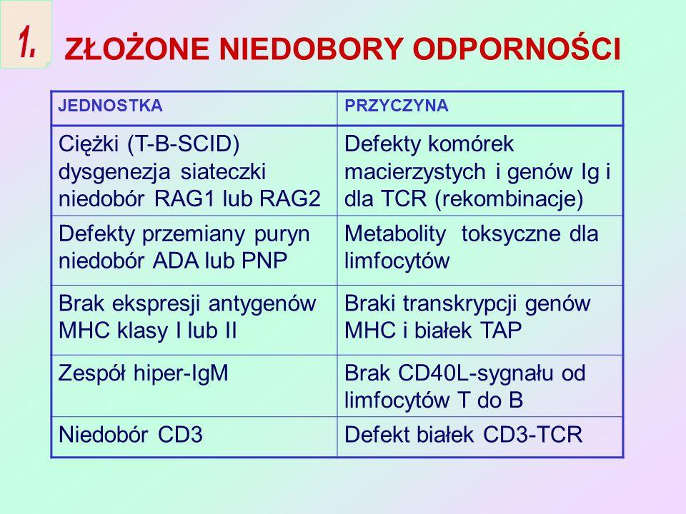 ZABURZENIA BIOSYNTEZY PRZECIWCIAŁ 1.Agammaglobulinemia sprzężona z chromo- somem X – brak kinazy Btk niezbędnej dla powstania kom.B 2.Pospolity zmienny NO – zaburzenia funkcji limfocytów 3.Niedobór IgA – defekt zmiany klas Ig 4.Selektywny niedobór podklas IgG 5.Przejściowa hipogammaglobulinemia niemowląt – defekt dojrzewania funkcji pomocy kom.