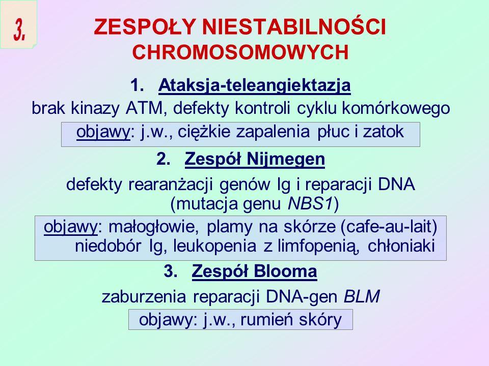 WRODZONE ZABURZENIA FUNKCJI KOMÓREK ŻERNYCH 1.Przewlekła choroba ziarniniakowa defekt drogi redukcyjnej tlenu (wadliwa oksydaza NADPH) objawy: ropnie, ziarniniaki skóry i narządów wewnętrznych 2.Niedobór adhezji (przylegania) leukocytów (LAD) defekt biosyntezy łańcucha (CD18) integryn CD11/CD18.
