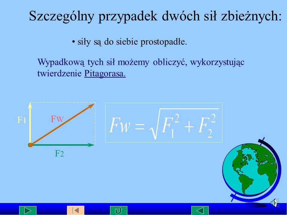 Wartość siły wypadkowej W celu określenia wartości siły wypadkowej dwóch sił zbieżnych należy : wykonać rysunek tych sił w odpowiedniej podziałce zbud