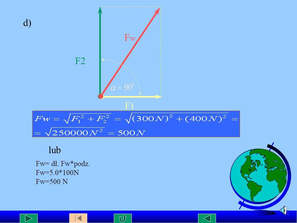 c) F1F1 F2F2 Fw F w= dł.Fw * podz. F w=5,9*100N F w= 590 N