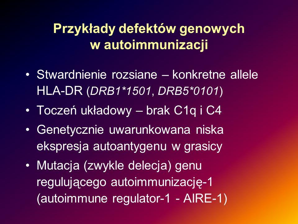 Przykłady defektów genowych w autoimmunizacji Stwardnienie rozsiane – konkretne allele HLA-DR (DRB1*1501, DRB5*0101) Toczeń układowy – brak C1q i C4 G