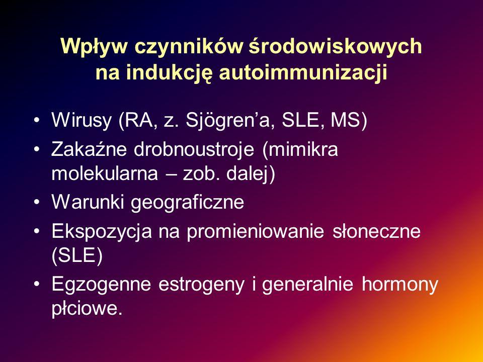 Wpływ czynników środowiskowych na indukcję autoimmunizacji Wirusy (RA, z. Sjögrena, SLE, MS) Zakaźne drobnoustroje (mimikra molekularna – zob. dalej)