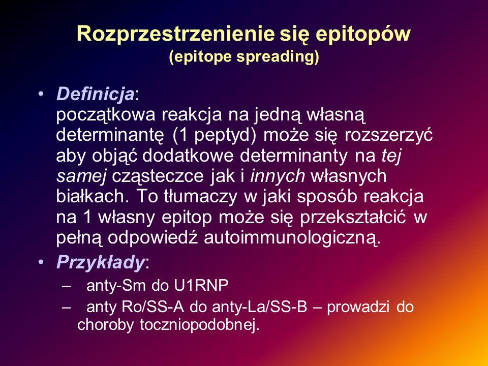 Rozprzestrzenienie się epitopów (epitope spreading) Definicja: początkowa reakcja na jedną własną determinantę (1 peptyd) może się rozszerzyć aby obją