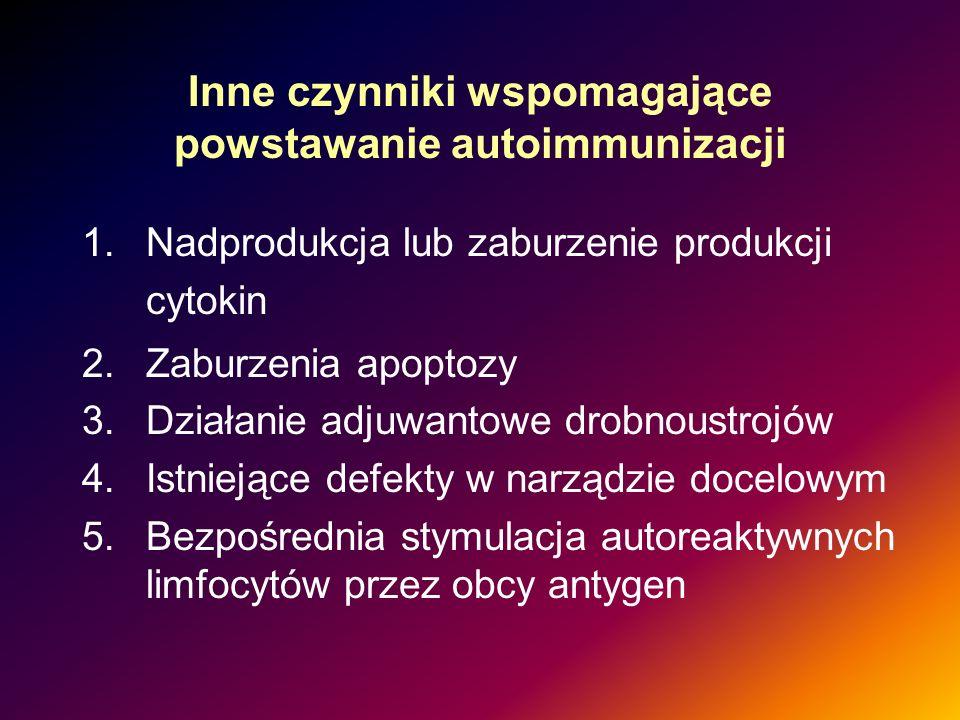 Inne czynniki wspomagające powstawanie autoimmunizacji 1.Nadprodukcja lub zaburzenie produkcji cytokin 2.Zaburzenia apoptozy 3.Działanie adjuwantowe d