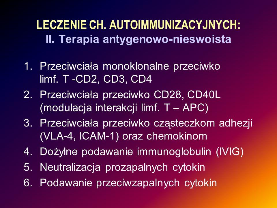 LECZENIE CH. AUTOIMMUNIZACYJNYCH : II. Terapia antygenowo-nieswoista 1.Przeciwciała monoklonalne przeciwko limf. T -CD2, CD3, CD4 2.Przeciwciała przec