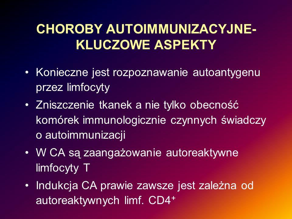 CHOROBY AUTOIMMUNIZACYJNE- KLUCZOWE ASPEKTY Konieczne jest rozpoznawanie autoantygenu przez limfocyty Zniszczenie tkanek a nie tylko obecność komórek