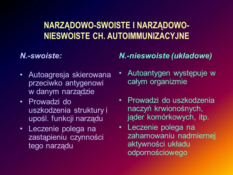 N.-swoiste: Autoagresja skierowana przeciwko antygenowi w danym narządzie Prowadzi do uszkodzenia struktury i upośl. funkcji narządu Leczenie polega n