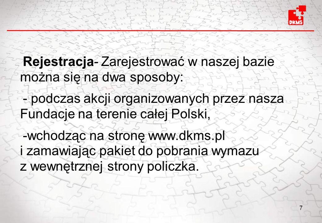 Rejestracja- Zarejestrować w naszej bazie można się na dwa sposoby: - podczas akcji organizowanych przez nasza Fundacje na terenie całej Polski, -wcho