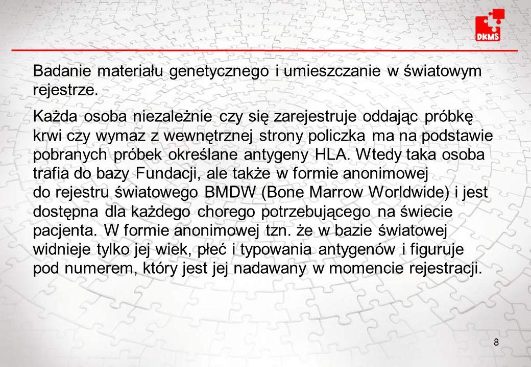 Badanie materiału genetycznego i umieszczanie w światowym rejestrze. Każda osoba niezależnie czy się zarejestruje oddając próbkę krwi czy wymaz z wewn