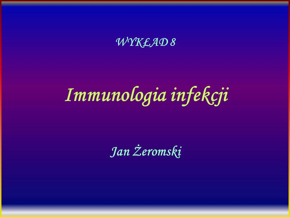 Immunopatologia zakażeń wirusowych 1.Reakcja cytotoksyczna na antygeny wirusowe (hapteny) 2.Kompleksy immunologiczne (kłębuszkowe zapalenie nerek) 3.Zakażenie komórek układu odpornościowego (EBV, HIV, wirus odry, CMV) 4.Autoimmunizacja indukowana przez wirusy (MS?)