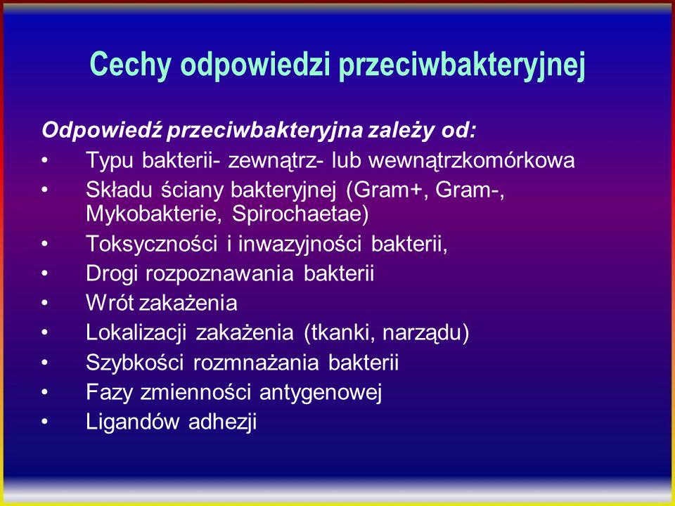 Cechy odpowiedzi przeciwbakteryjnej Odpowiedź przeciwbakteryjna zależy od: Typu bakterii- zewnątrz- lub wewnątrzkomórkowa Składu ściany bakteryjnej (G