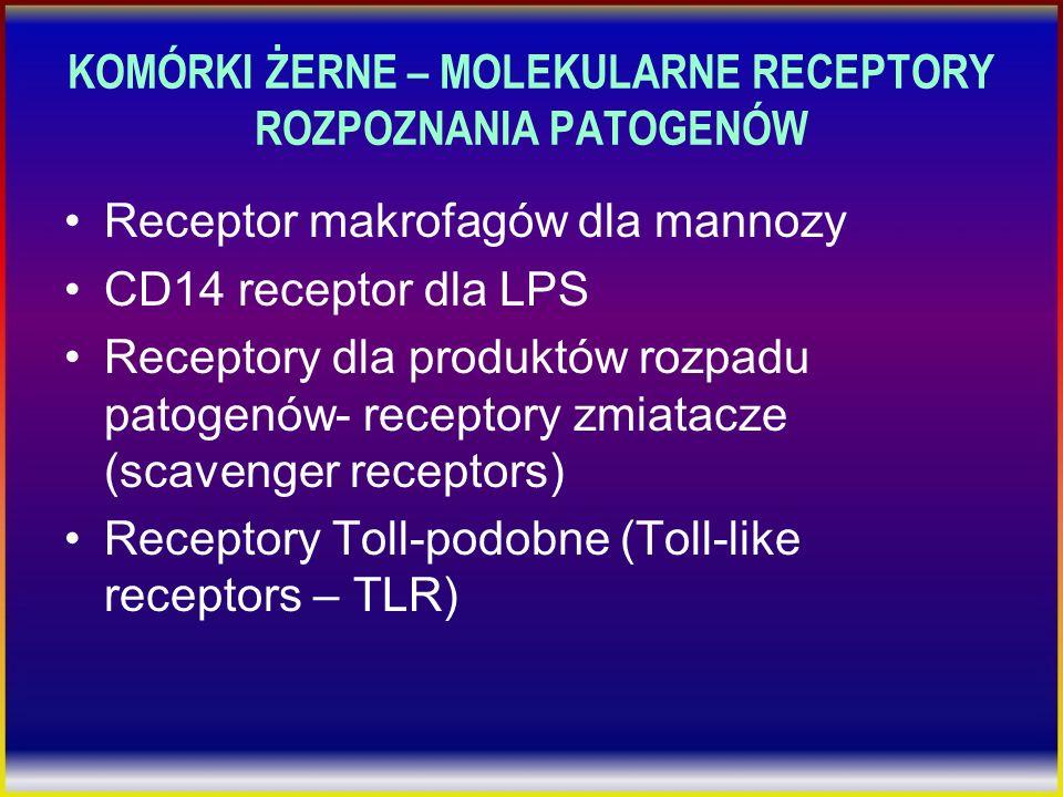 KOMÓRKI ŻERNE – MOLEKULARNE RECEPTORY ROZPOZNANIA PATOGENÓW Receptor makrofagów dla mannozy CD14 receptor dla LPS Receptory dla produktów rozpadu pato