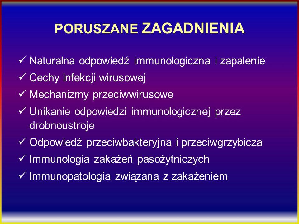 PORUSZANE ZAGADNIENIA Naturalna odpowiedź immunologiczna i zapalenie Cechy infekcji wirusowej Mechanizmy przeciwwirusowe Unikanie odpowiedzi immunolog