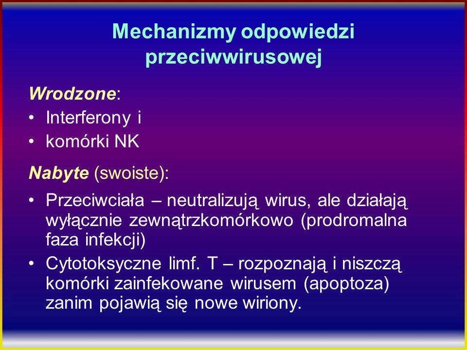 Mechanizmy odpowiedzi przeciwwirusowej Wrodzone: Interferony i komórki NK Nabyte (swoiste): Przeciwciała – neutralizują wirus, ale działają wyłącznie