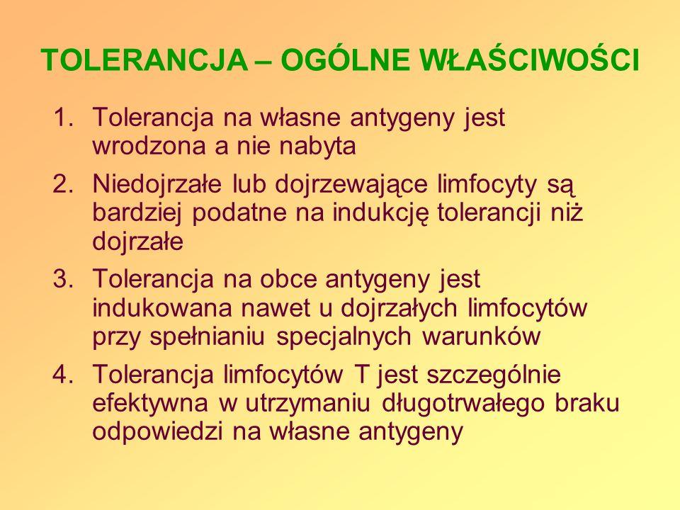 TOLERANCJA – OGÓLNE WŁAŚCIWOŚCI 1.Tolerancja na własne antygeny jest wrodzona a nie nabyta 2.Niedojrzałe lub dojrzewające limfocyty są bardziej podatn