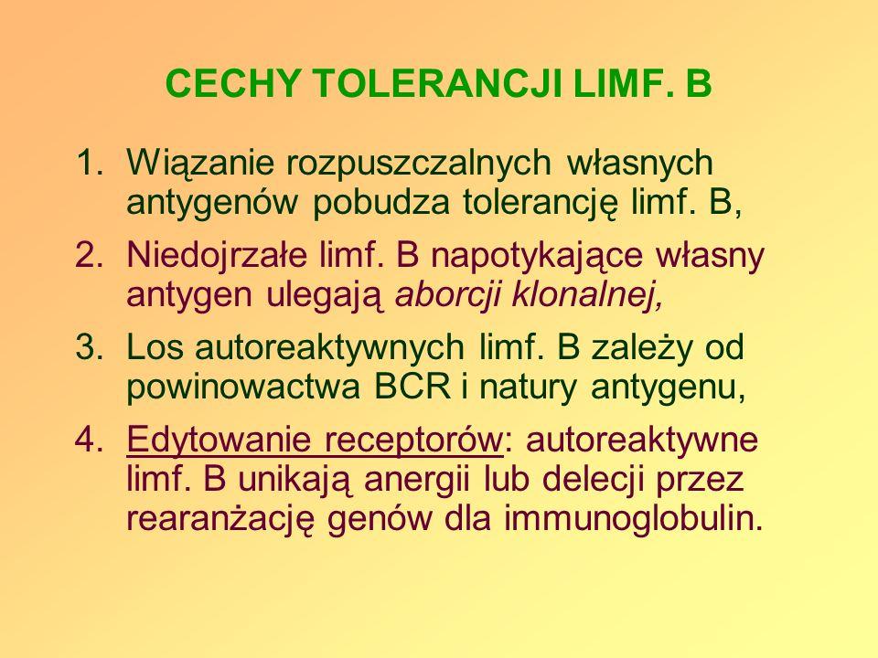 CECHY TOLERANCJI LIMF. B 1.Wiązanie rozpuszczalnych własnych antygenów pobudza tolerancję limf. B, 2.Niedojrzałe limf. B napotykające własny antygen u