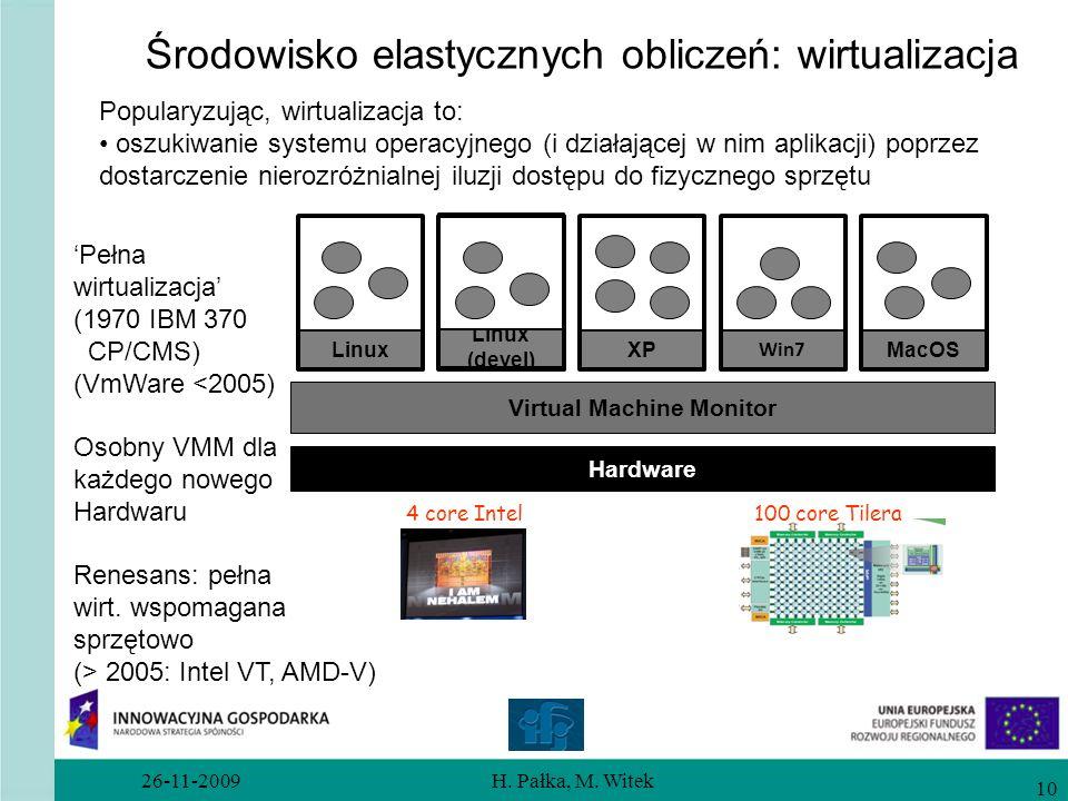 26-11-2009H. Pałka, M. Witek 10 Środowisko elastycznych obliczeń: wirtualizacja Popularyzując, wirtualizacja to: oszukiwanie systemu operacyjnego (i d