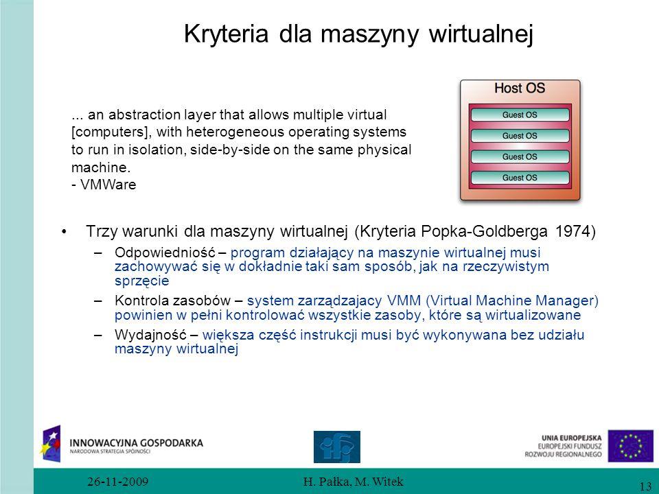 26-11-2009H. Pałka, M. Witek 13 Kryteria dla maszyny wirtualnej Trzy warunki dla maszyny wirtualnej (Kryteria Popka-Goldberga 1974) –Odpowiedniość – p