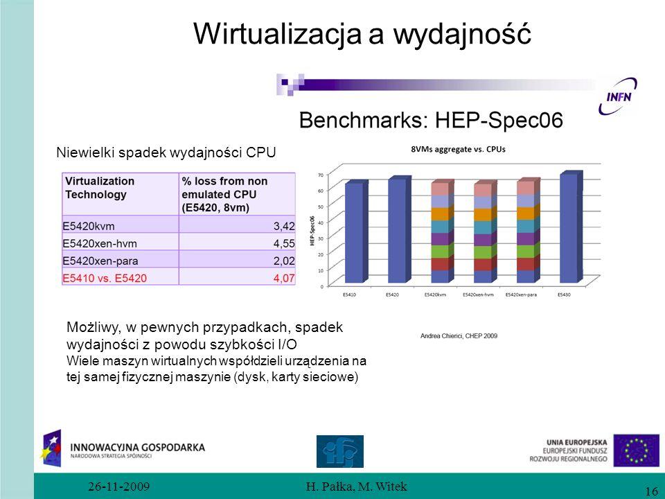 26-11-2009H. Pałka, M. Witek 16 Wirtualizacja a wydajność Niewielki spadek wydajności CPU Możliwy, w pewnych przypadkach, spadek wydajności z powodu s