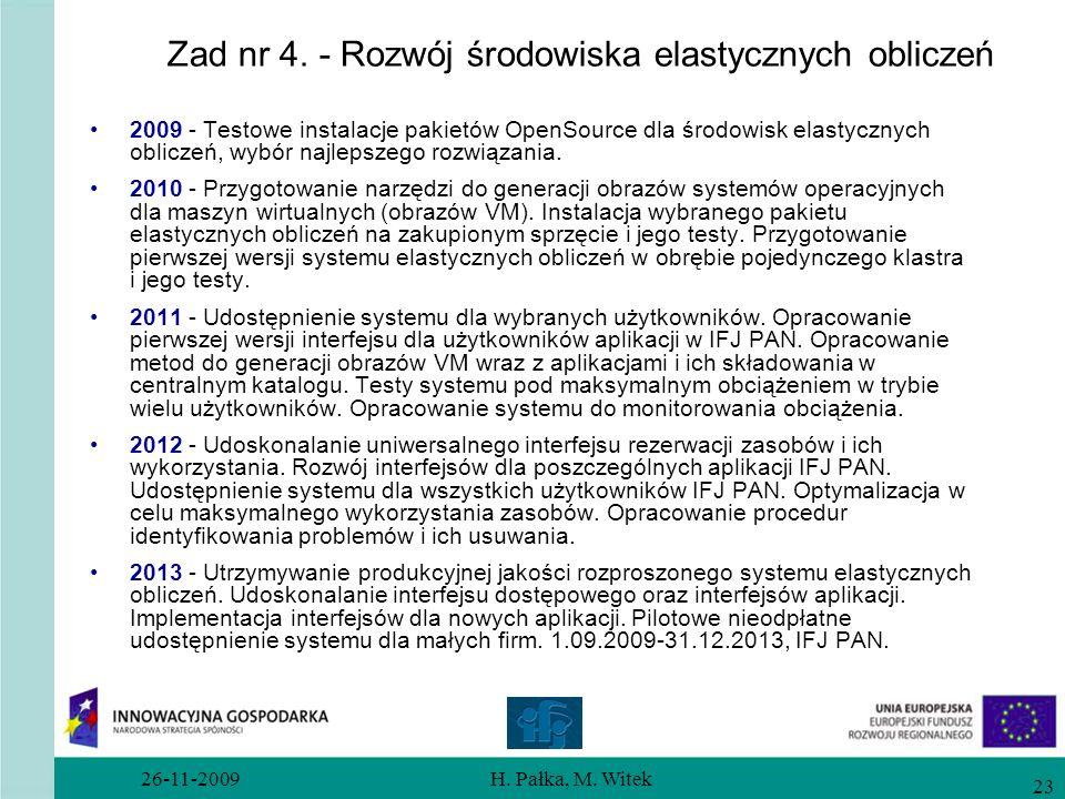 26-11-2009H. Pałka, M. Witek 23 Zad nr 4. - Rozwój środowiska elastycznych obliczeń 2009 - Testowe instalacje pakietów OpenSource dla środowisk elasty
