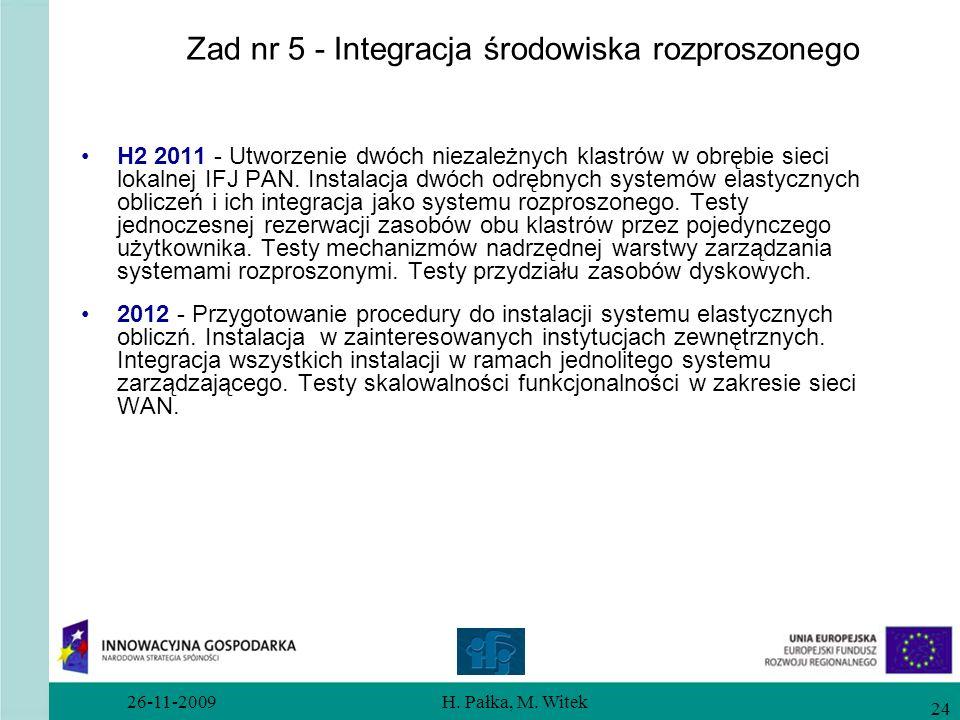 26-11-2009H. Pałka, M. Witek 24 Zad nr 5 - Integracja środowiska rozproszonego H2 2011 - Utworzenie dwóch niezależnych klastrów w obrębie sieci lokaln