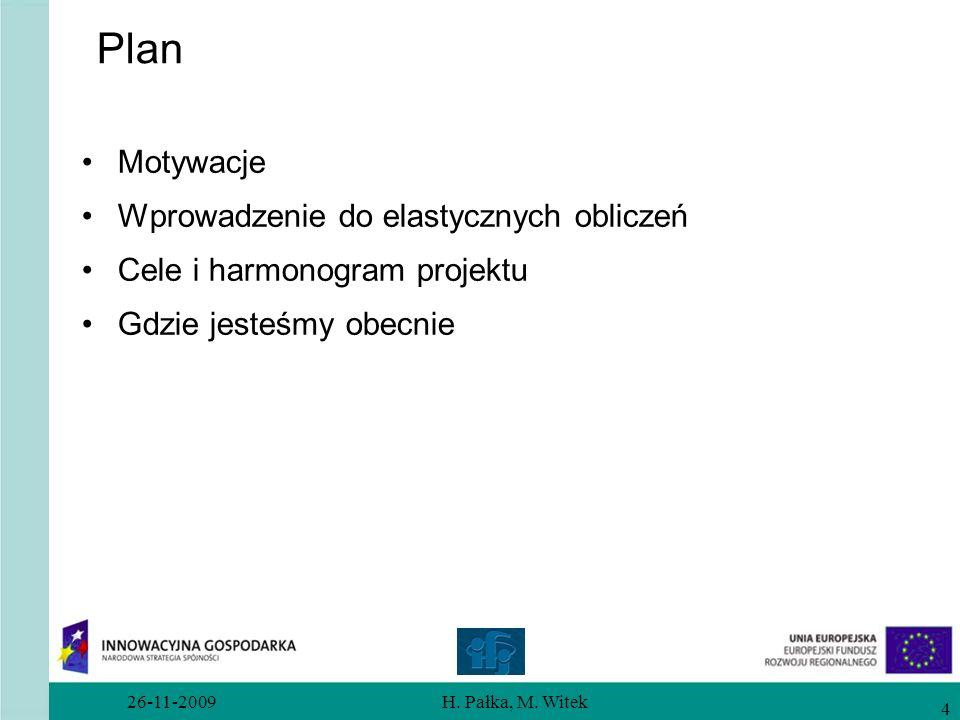 26-11-2009H. Pałka, M. Witek 4 Plan Motywacje Wprowadzenie do elastycznych obliczeń Cele i harmonogram projektu Gdzie jesteśmy obecnie