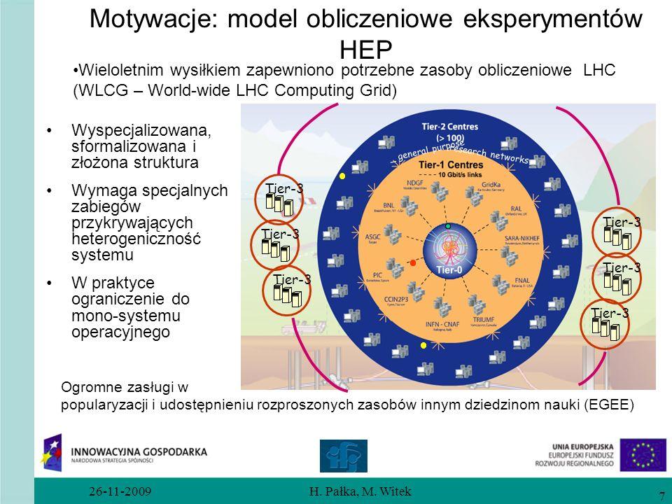 26-11-2009H. Pałka, M. Witek 7 Motywacje: model obliczeniowe eksperymentów HEP Wyspecjalizowana, sformalizowana i złożona struktura Wymaga specjalnych