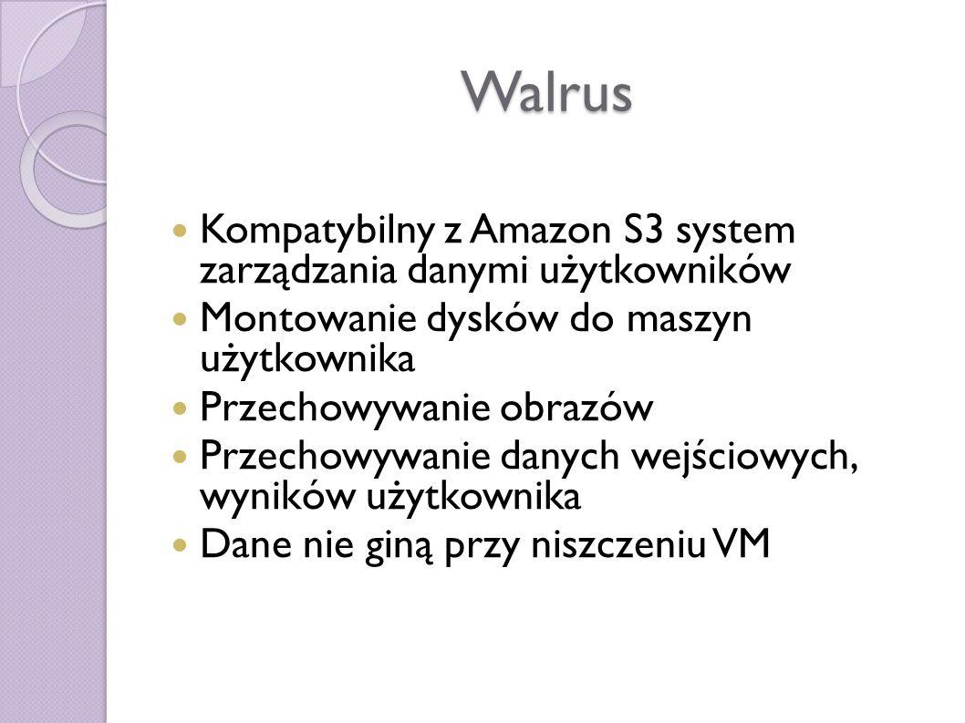 Walrus Kompatybilny z Amazon S3 system zarządzania danymi użytkowników Montowanie dysków do maszyn użytkownika Przechowywanie obrazów Przechowywanie danych wejściowych, wyników użytkownika Dane nie giną przy niszczeniu VM