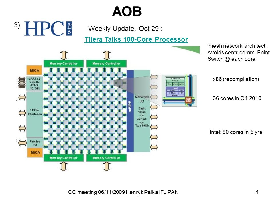 CC meeting 06/11/2009 Henryk Palka IFJ PAN 4 AOB 3) Weekly Update, Oct 29 : Tilera Talks 100-Core Processor mesh network architect.