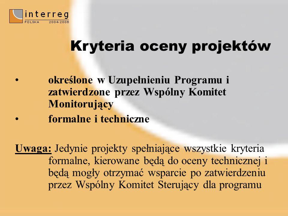 określone w Uzupełnieniu Programu i zatwierdzone przez Wspólny Komitet Monitorujący formalne i techniczne Uwaga: Jedynie projekty spełniające wszystkie kryteria formalne, kierowane będą do oceny technicznej i będą mogły otrzymać wsparcie po zatwierdzeniu przez Wspólny Komitet Sterujący dla programu Kryteria oceny projektów