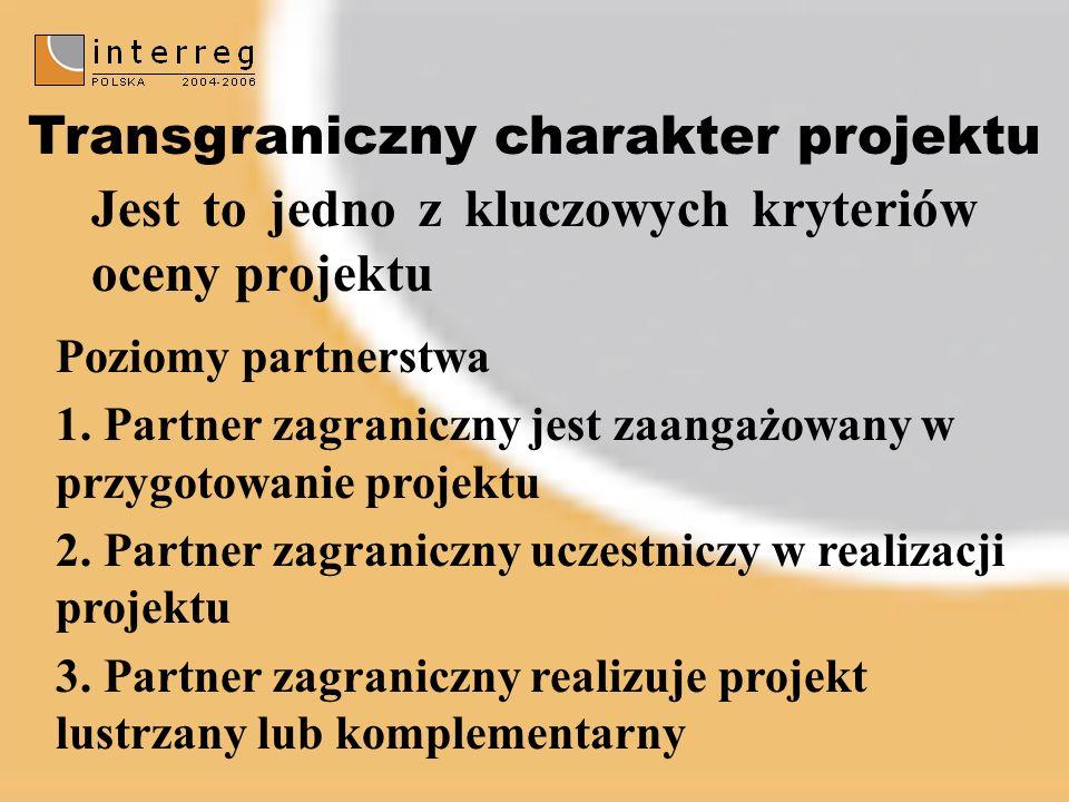 Poziomy partnerstwa 1. Partner zagraniczny jest zaangażowany w przygotowanie projektu 2.