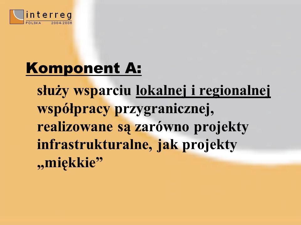 Komponent A: służy wsparciu lokalnej i regionalnej współpracy przygranicznej, realizowane są zarówno projekty infrastrukturalne, jak projekty miękkie