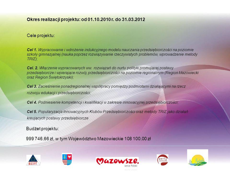 Budżet projektu: 999 746,66 zł, w tym Województwo Mazowieckie 108 100,00 zł Okres realizacji projektu: od 01.10.2010 r.