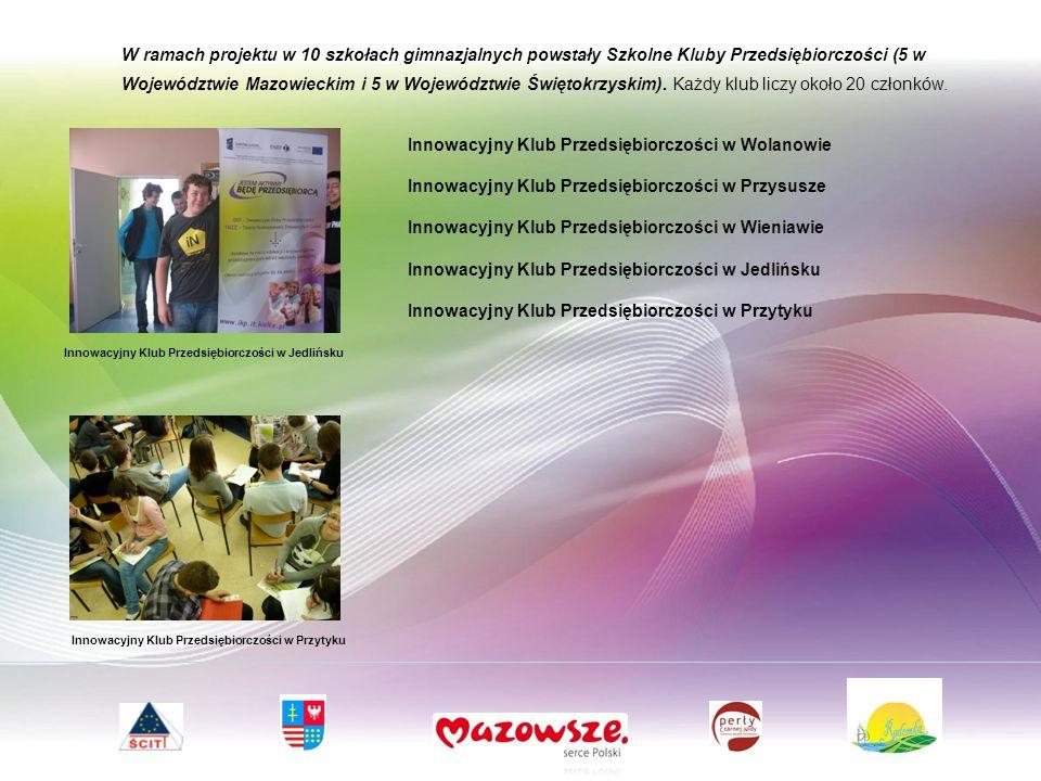 W ramach projektu w 10 szkołach gimnazjalnych powstały Szkolne Kluby Przedsiębiorczości (5 w Województwie Mazowieckim i 5 w Województwie Świętokrzyskim).