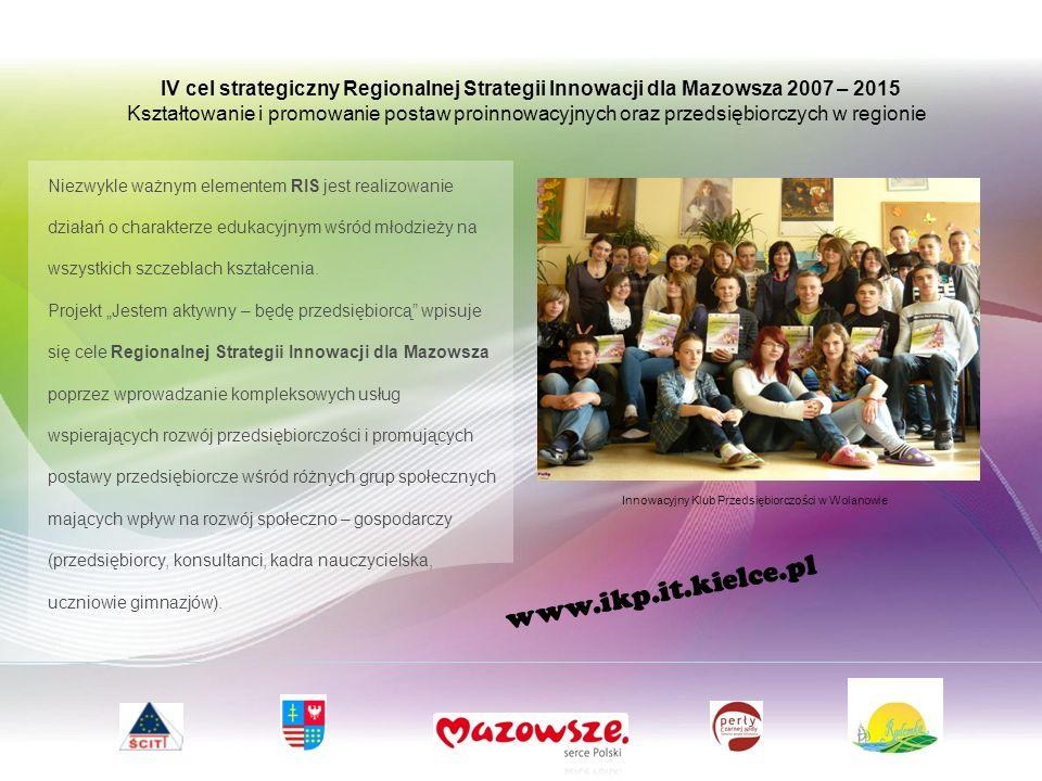 IV cel strategiczny Regionalnej Strategii Innowacji dla Mazowsza 2007 – 2015 Kształtowanie i promowanie postaw proinnowacyjnych oraz przedsiębiorczych w regionie Niezwykle ważnym elementem RIS jest realizowanie działań o charakterze edukacyjnym wśród młodzieży na wszystkich szczeblach kształcenia.
