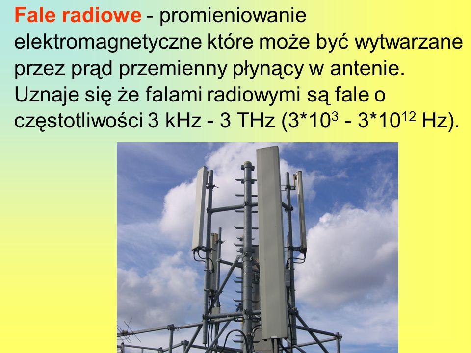 Fale radiowe - promieniowanie elektromagnetyczne które może być wytwarzane przez prąd przemienny płynący w antenie. Uznaje się że falami radiowymi są