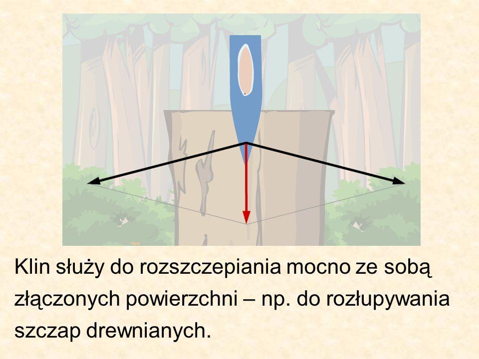 Klin służy do rozszczepiania mocno ze sobą złączonych powierzchni – np. do rozłupywania szczap drewnianych.