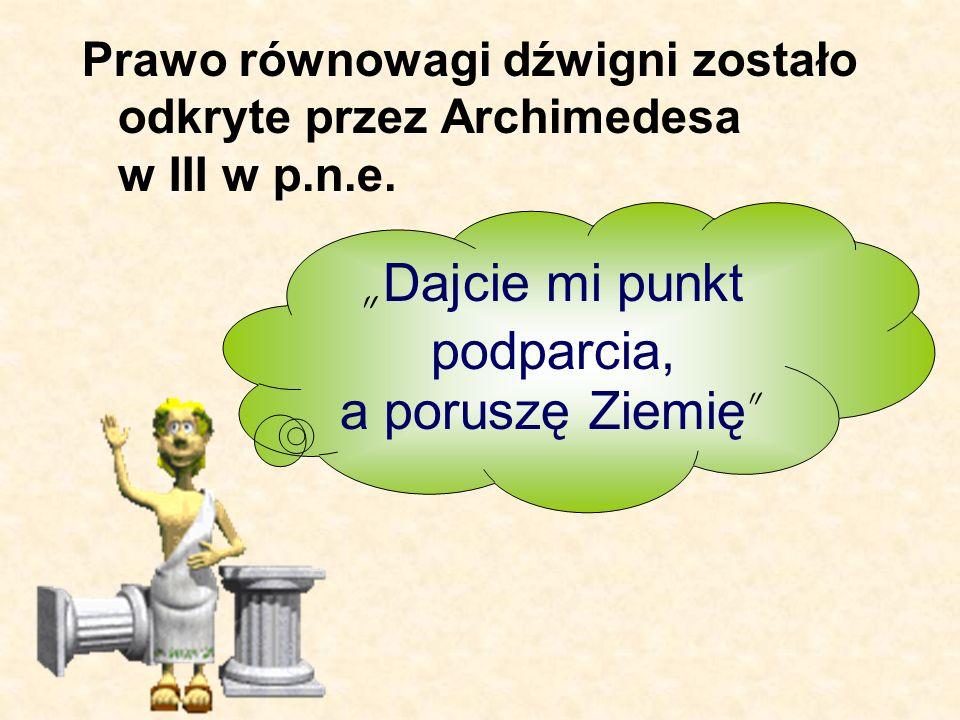 Prawo równowagi dźwigni zostało odkryte przez Archimedesa w III w p.n.e. Dajcie mi punkt podparcia, a poruszę Ziemię