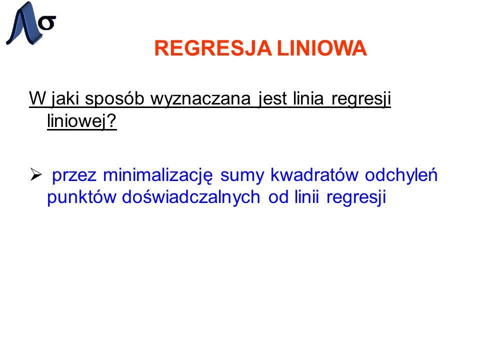 REGRESJA LINIOWA W jaki sposób wyznaczana jest linia regresji liniowej? przez minimalizację sumy kwadratów odchyleń punktów doświadczalnych od linii r