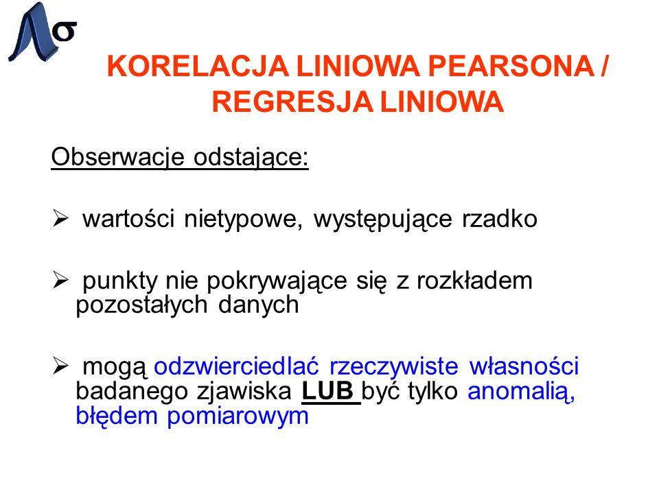 KORELACJA LINIOWA PEARSONA / REGRESJA LINIOWA Obserwacje odstające: wartości nietypowe, występujące rzadko punkty nie pokrywające się z rozkładem pozo