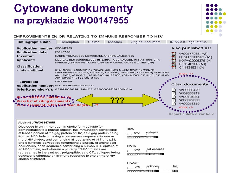 Cytowane dokumenty na przykładzie WO0147955