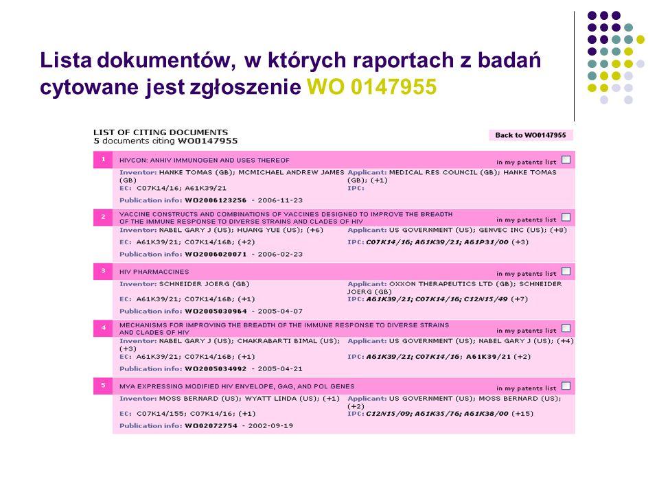 Lista dokumentów, w których raportach z badań cytowane jest zgłoszenie WO 0147955