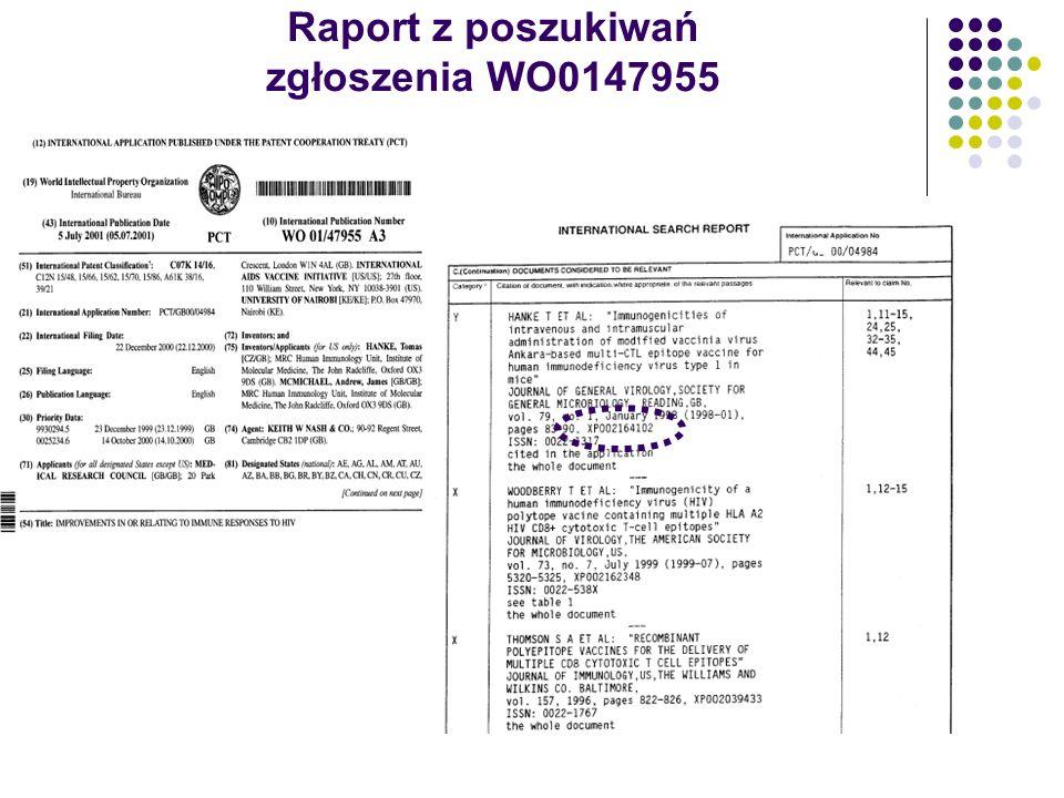 Raport z poszukiwań zgłoszenia WO0147955