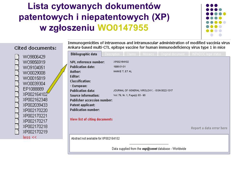Lista cytowanych dokumentów patentowych i niepatentowych (XP) w zgłoszeniu WO0147955