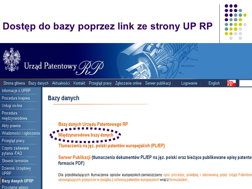 Dostęp do bazy poprzez link ze strony UP RP